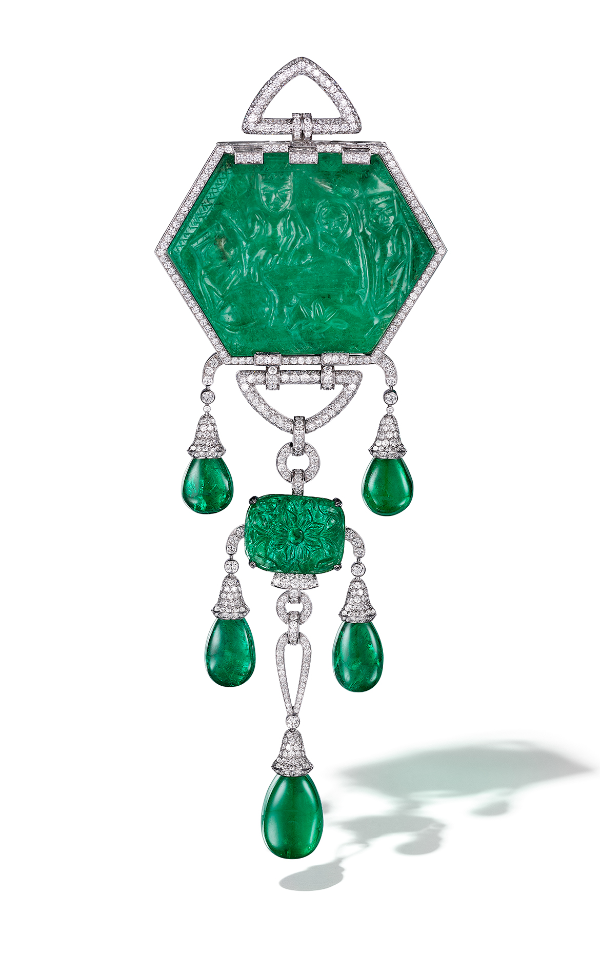 Moghul Emerald Cartier Brooch