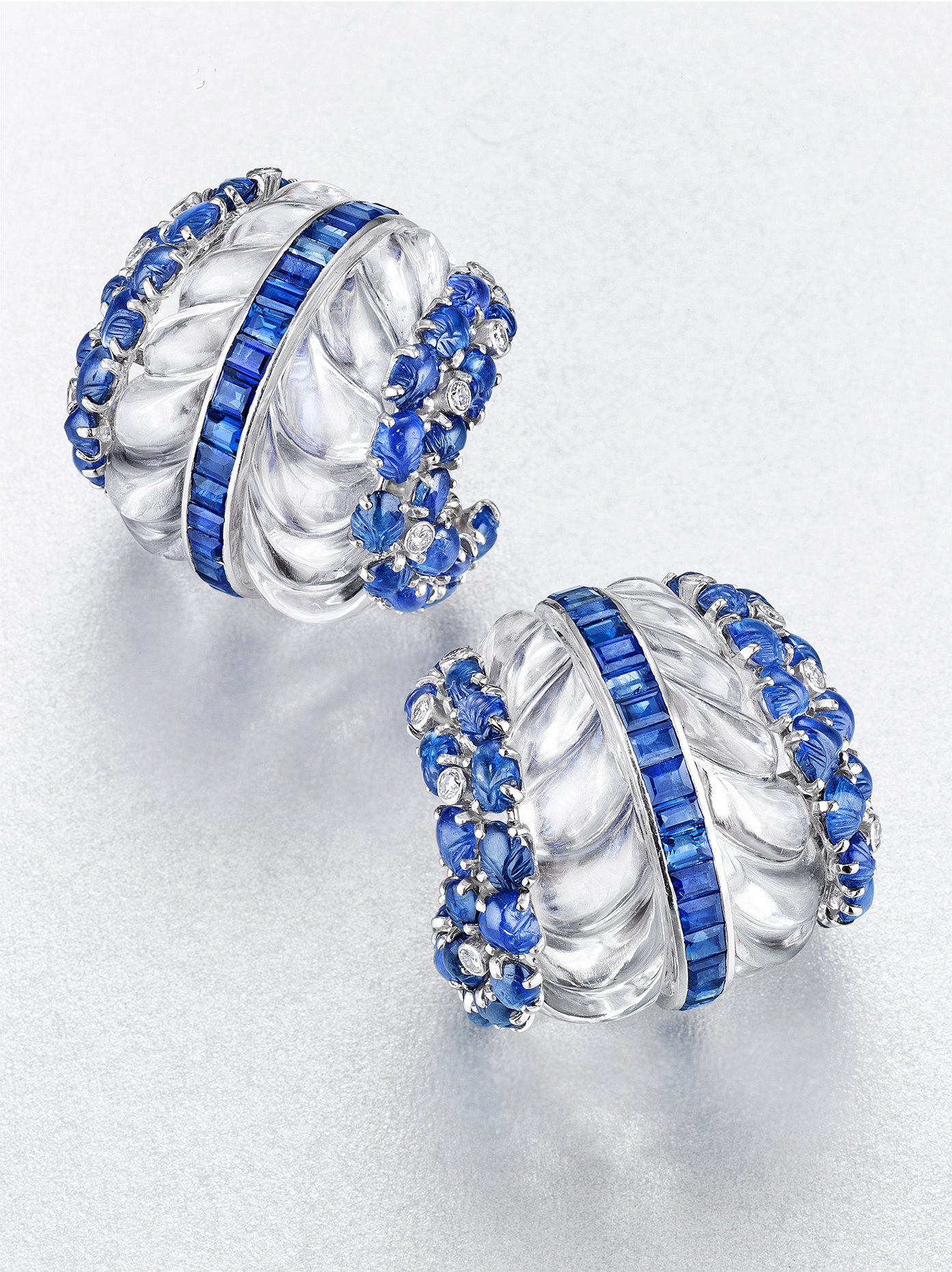 Rock Crystal Blue Earrings