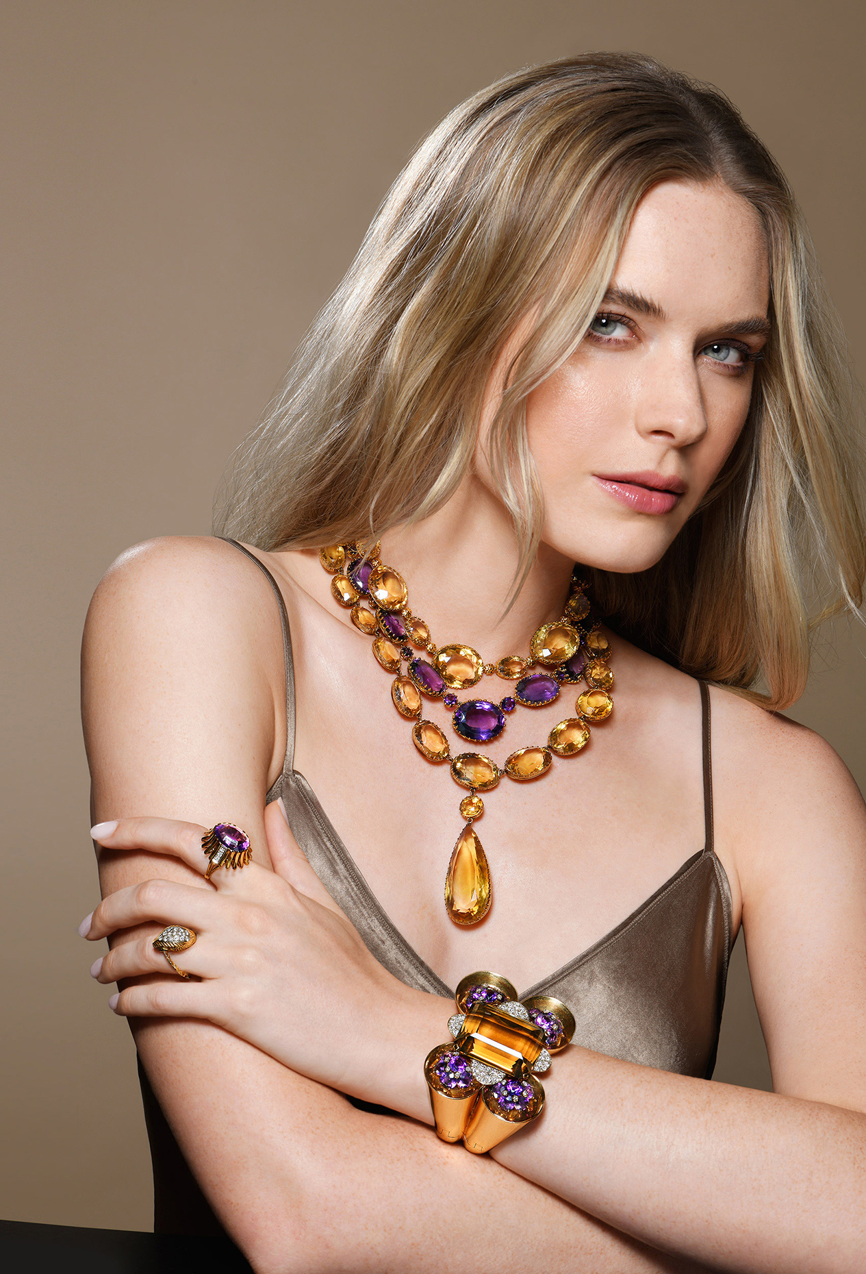 Fred Leighton Gold Citrine Amethyst Riviere Necklace